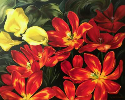 red tulips, central coast art association