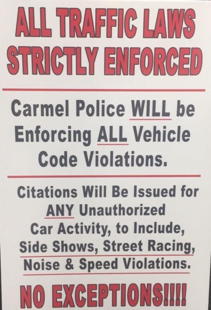 carmel traffic law sign