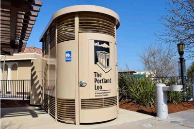 Portland Loo arrives to Monterey's Simoneau Plaza. It's beige.