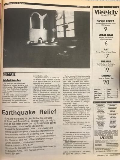How the Weekly covered the Loma Prieta earthquake 30 years ago.