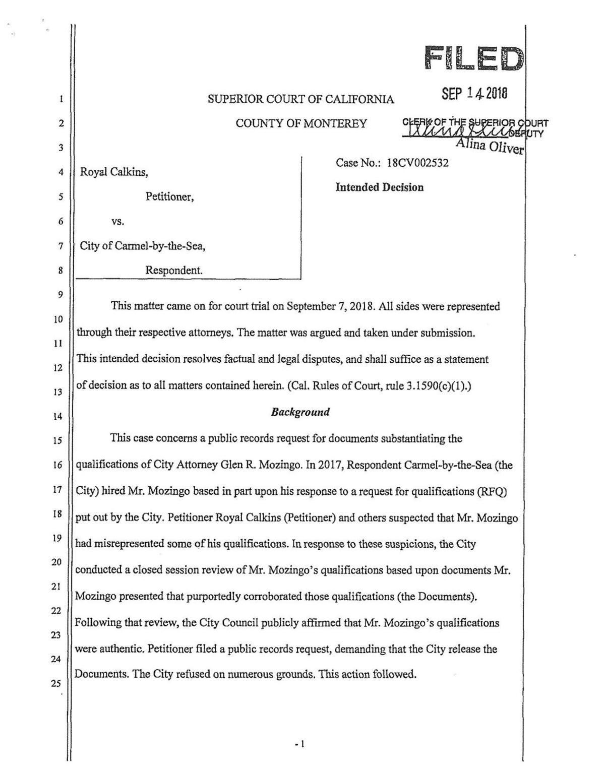 Carmel document ruling
