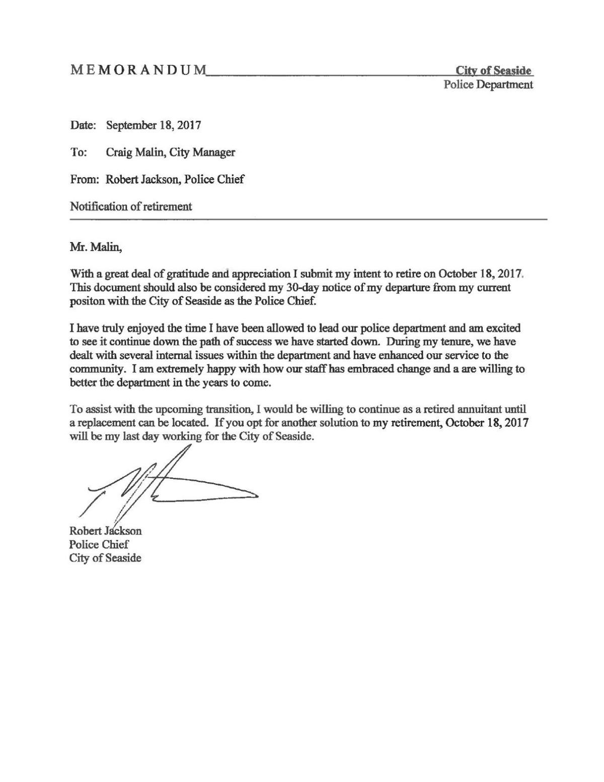 Chief Jackson resignation letter | | montereycountyweekly.com