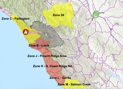 Dolan Fire evacuation map