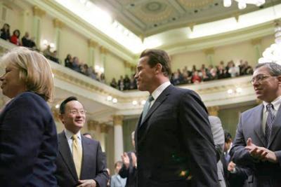 Local lawmakers criticize Schwarzenegger's budget plan.