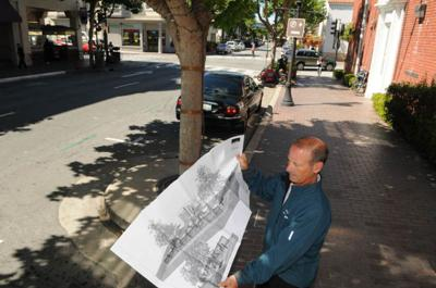 Monterey trials downtown revamp, with street seating in place of parking spots.