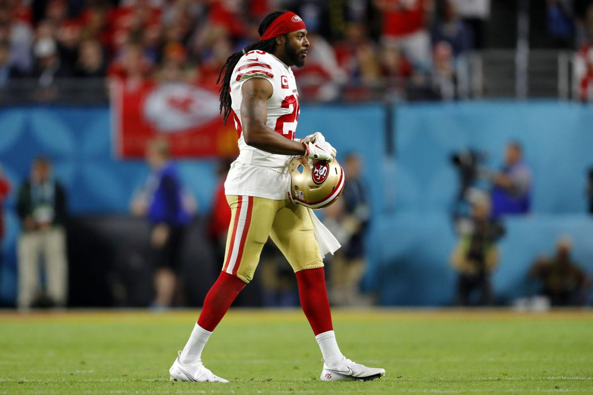 Richard Sherman of the San Francisco 49ers looks on during the fourth quarter against the Kansas City Chiefs in Super Bowl LIV on February 2, 2020, at Hard Rock Stadium in Miami Gardens, Fla.