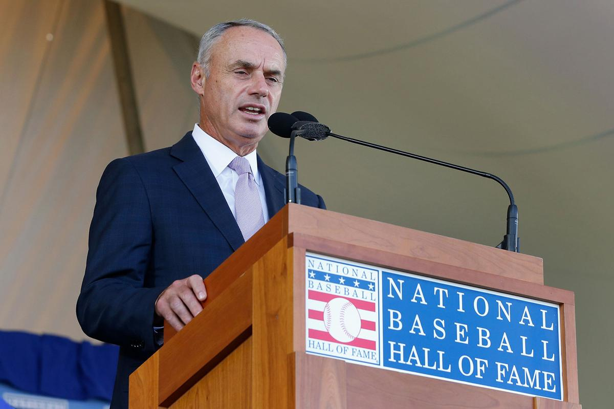 MLB commissioner Rob Manfred speaks at Clark Sports Center during the Baseball Hall of Fame induction ceremony on July 29, 2018, in Cooperstown, N.Y.