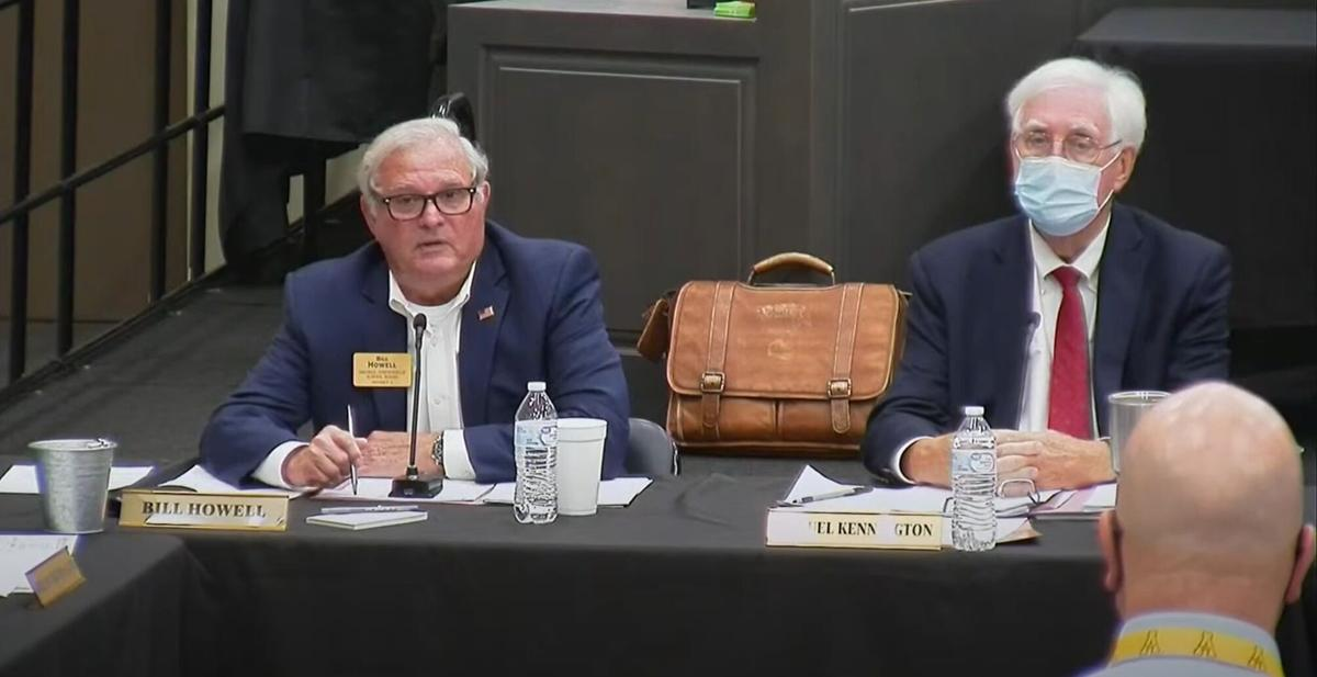 In a video still from the Iredell-Statesville School Board of Education meeting, Bill Howell speaks during Tuesday's meeting in Troutman.