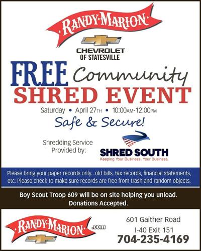 Randy Marion Mooresville >> Free community shredding event Saturday | Local News | mooresvilletribune.com