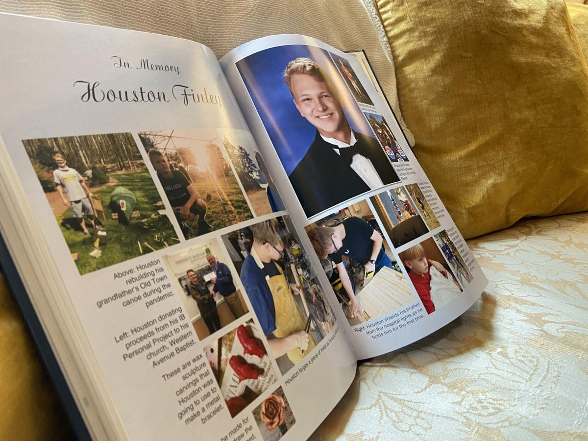 A memorial page for Houston Finley in South Iredell's 2021 Yearbook is displayed at the Finley's home in Statesville on Friday.