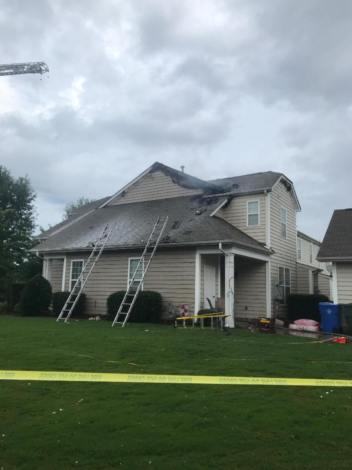 A house was damaged by a lightning strike on Leyton Loop in Mooresville on Monday.