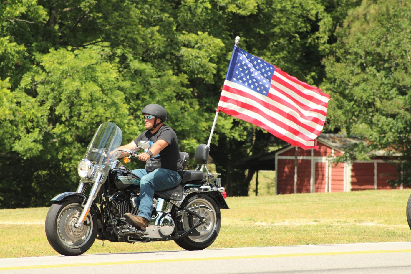 Motorcyclist with American Flag