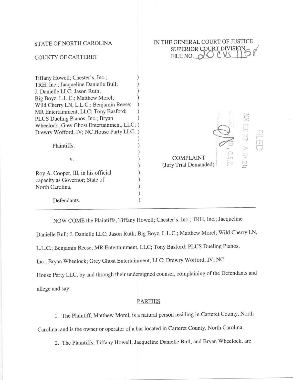 NCBOA lawsuit vs. Cooper