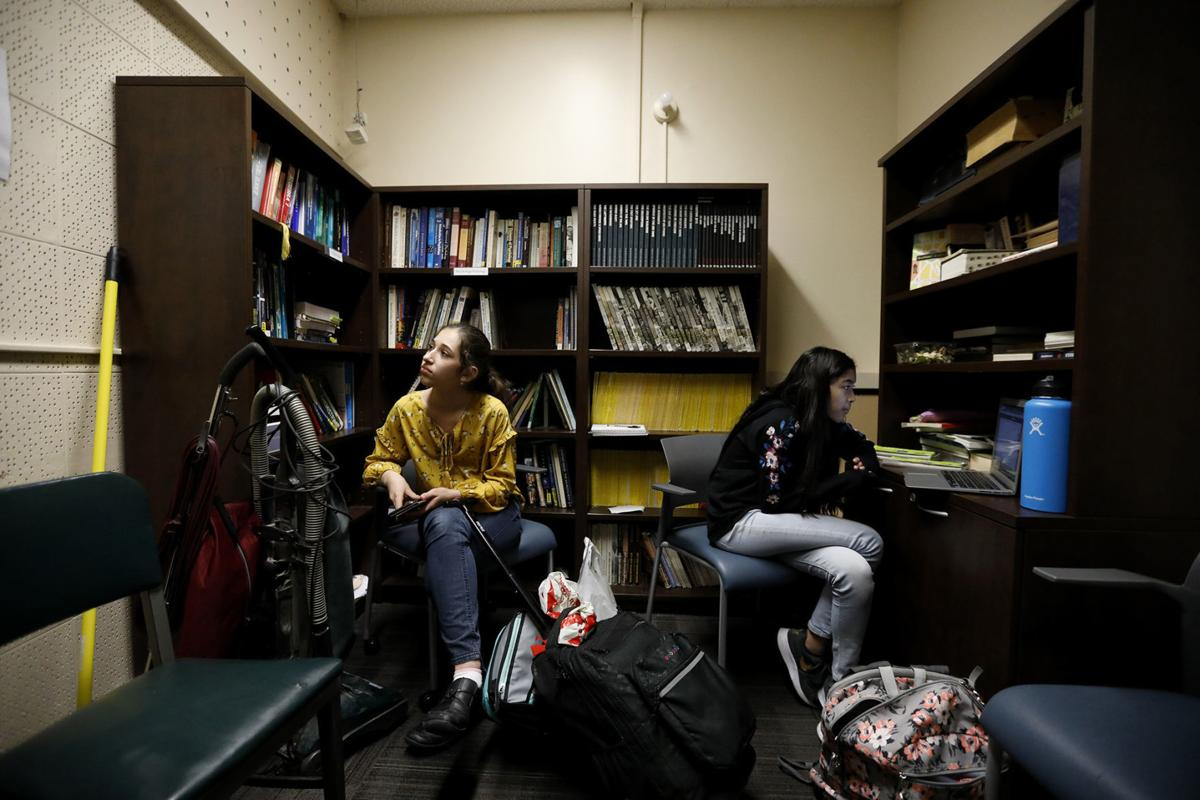 California State University, Los Angeles student Mia Turel, 13, left, and her friend Shanti Raminani, 12, right, hang out after their Chemistry Lab in Los Angeles on February 12, 2019. They both participate in the Early Entrance Program.