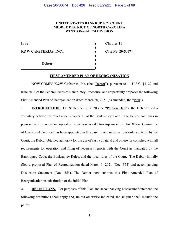 K&W bankruptcy reorganization plan filing