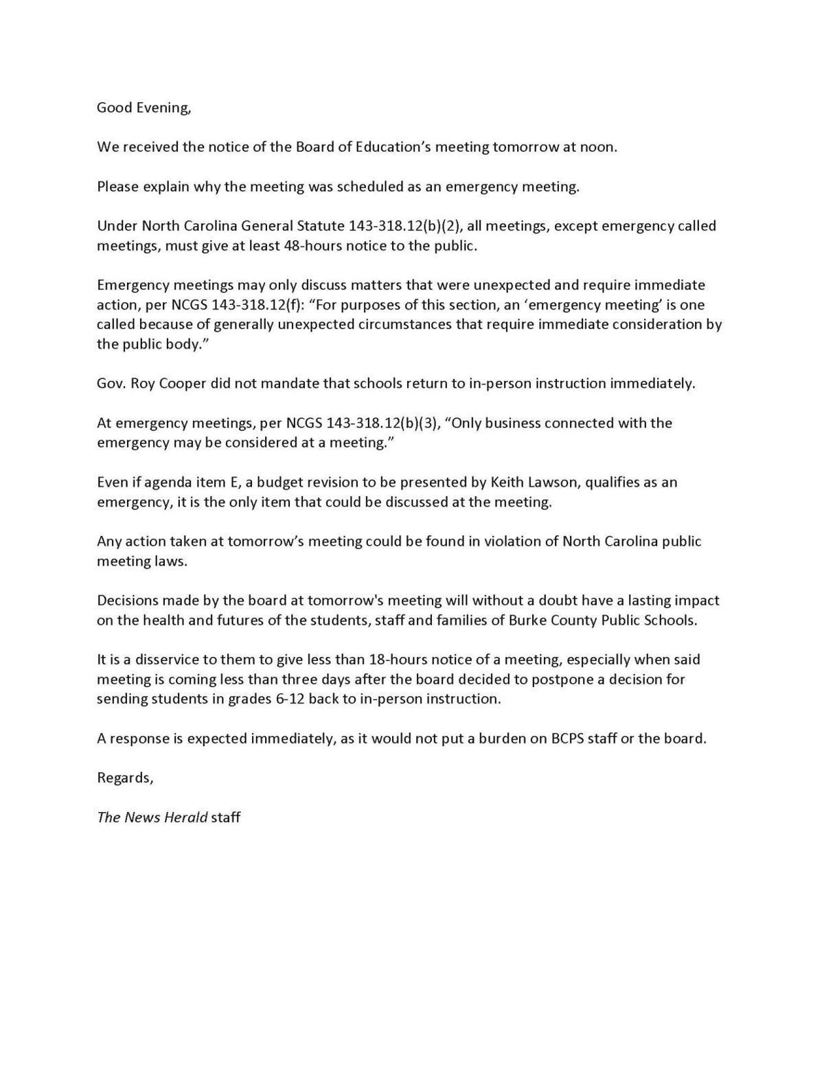 News Herald emergency meeting rebuttal