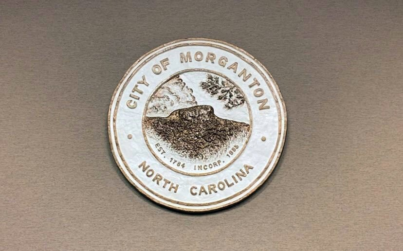 Morganton city seal in council chambers