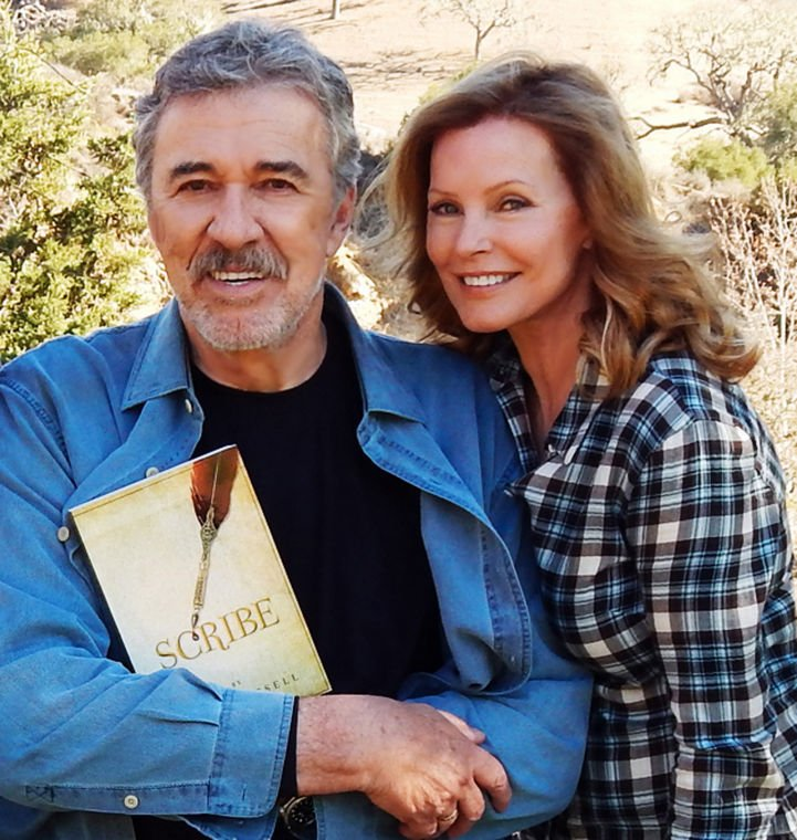 """Cheryl Ladd with husband Brian Russell and his first novel, """"Scribe"""""""