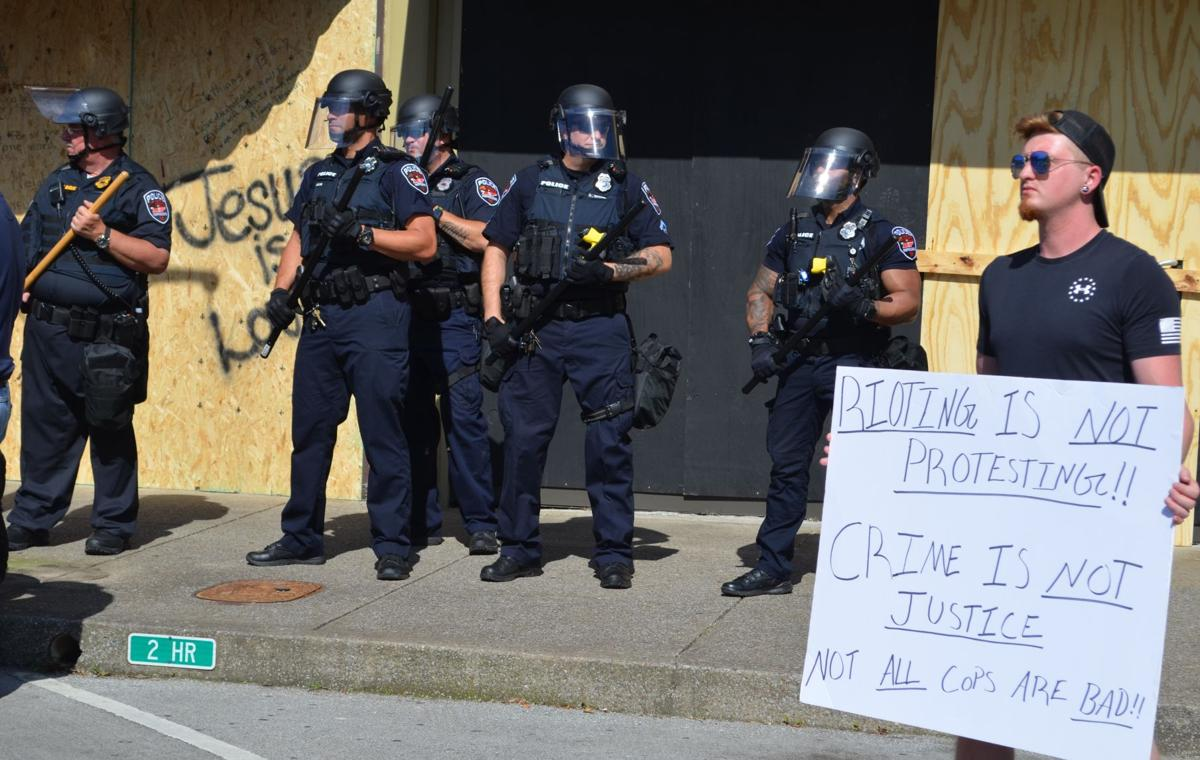 Protester supports police