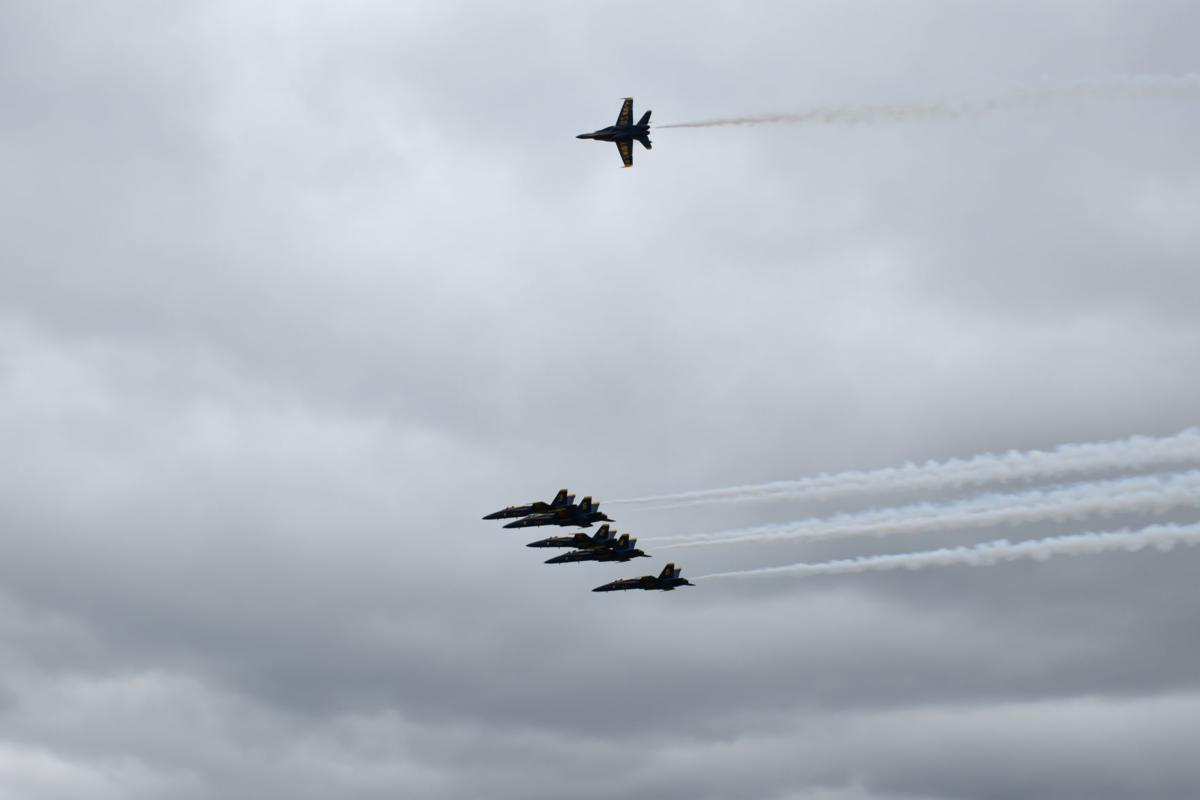The Blue Angels Naval Aerial Demonstration team roar into the Smyrna Airport and begin to peel out of formation to land after flying over Nashville last week