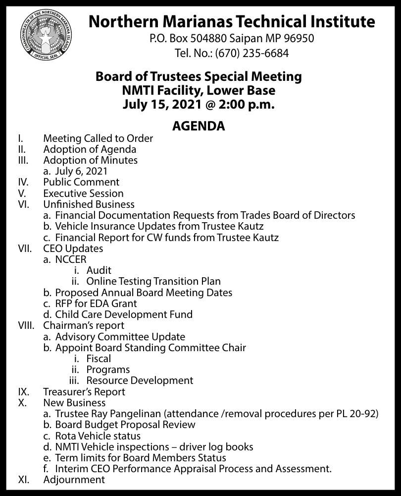 NMTI Board of Trustees Special Meeting Ad