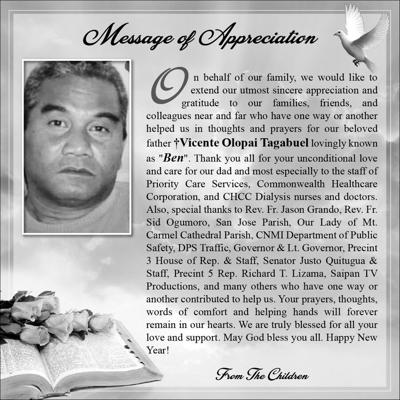 Vicente Olopai Tagabuel family message of appreciation