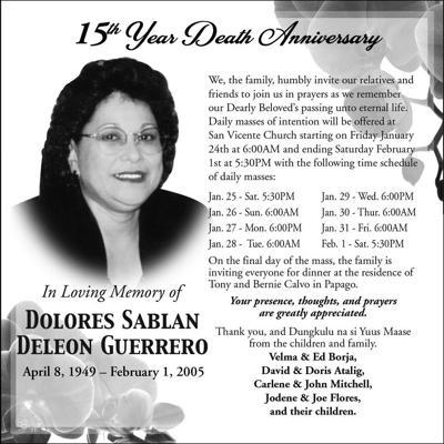 Dolores Sablan Deleon Guerrero 15th year death anniversary