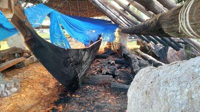 burned canoe