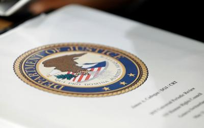 Folder with the seal of the U.S. Department of Justice