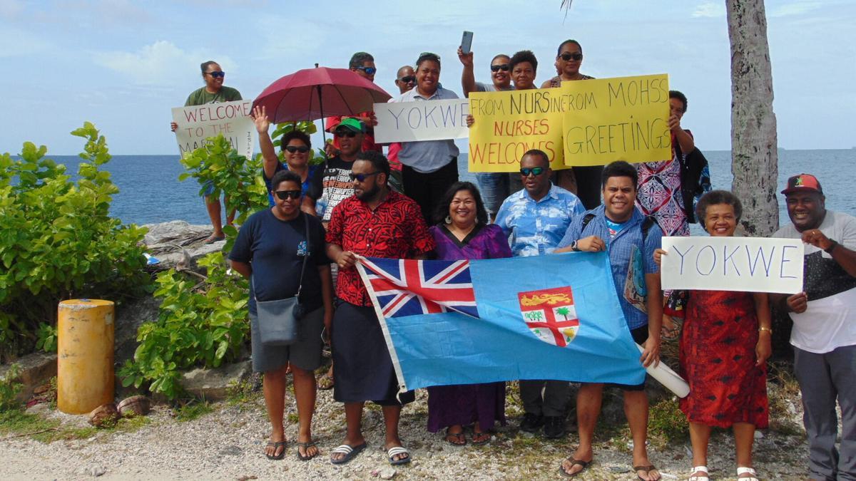 Fiji group arrives to festive Majuro airport welcome