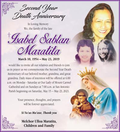 †Isabel Sablan Maratita: Second Year Death Anniversary