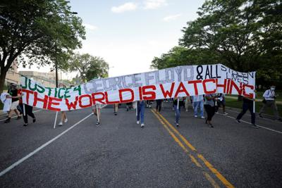 March calling for justice for those killed by police officers, in St. Paul, Minnesota