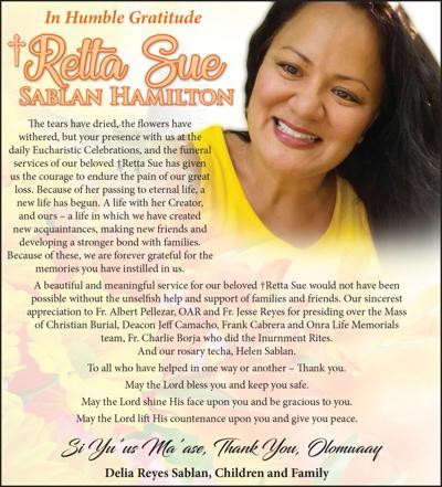 Retta Sue Sablan Hamilton: Message of Appreciation