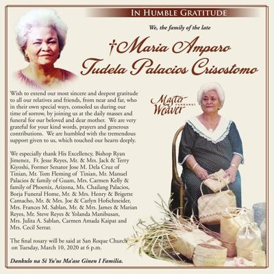 Maria Amparo Tudela Palacios Crisostomo family message of appreciation