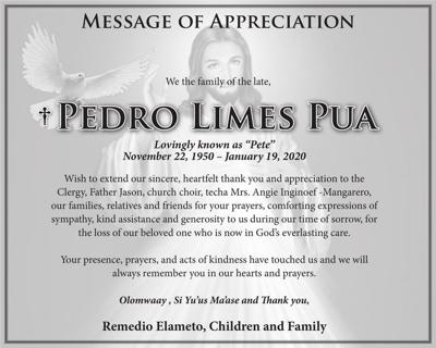 Pedro Limes Pua family message of appreciation