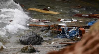 Wreckage and debris