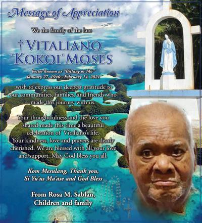 """Vitaliano """"Kokoi"""" Moses: Message of Appreciation"""