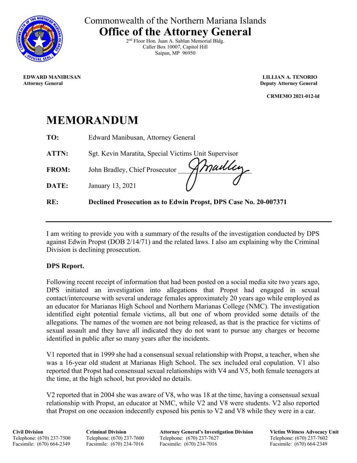 Office of the AG's memo re Edwin Propst