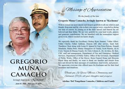 Gregorio Muna Camacho: Message of Appreciation