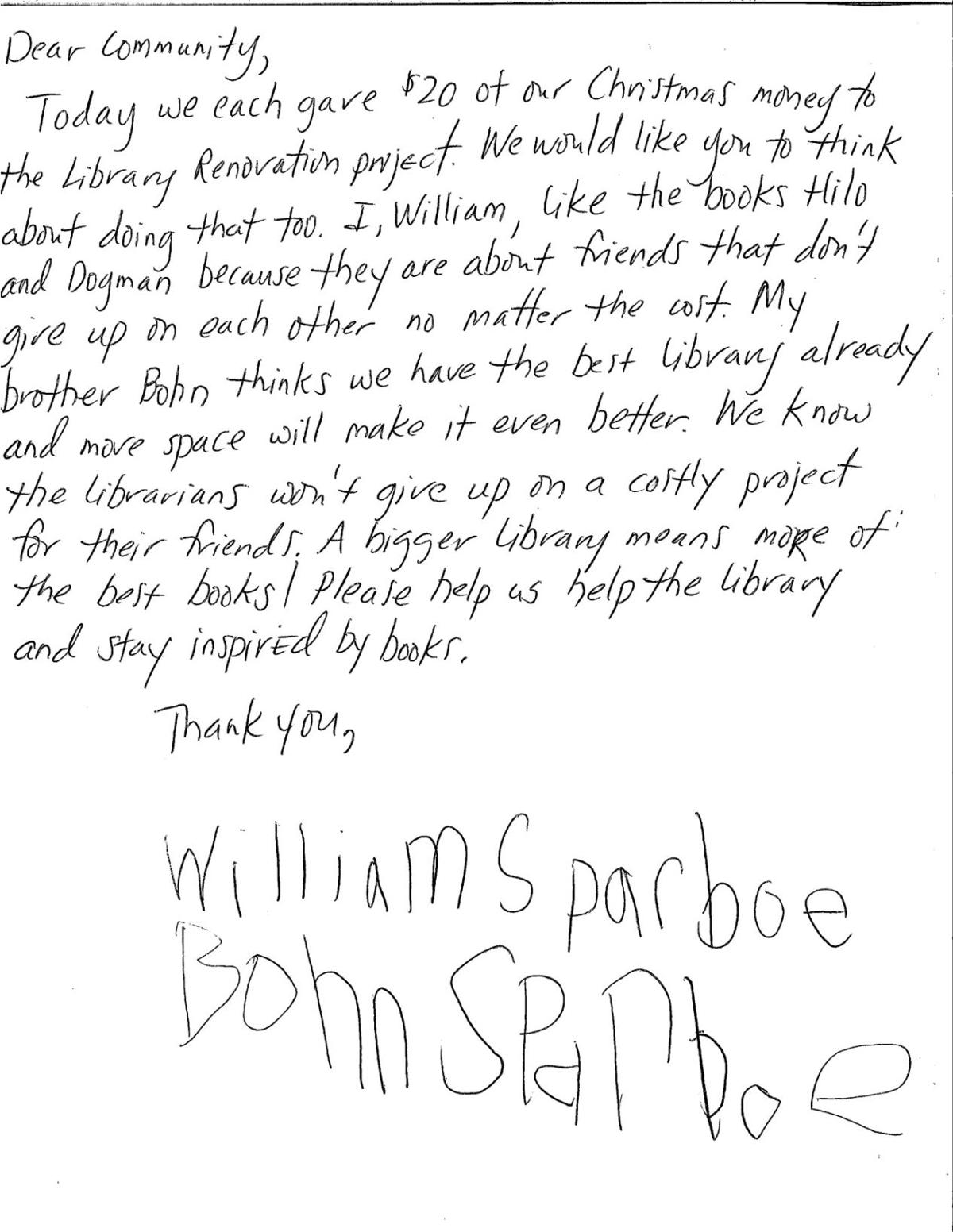 Brothers donate Christmas to library project- letter