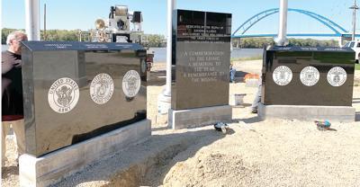 Veterans Memorial monuments, flagpoles installed