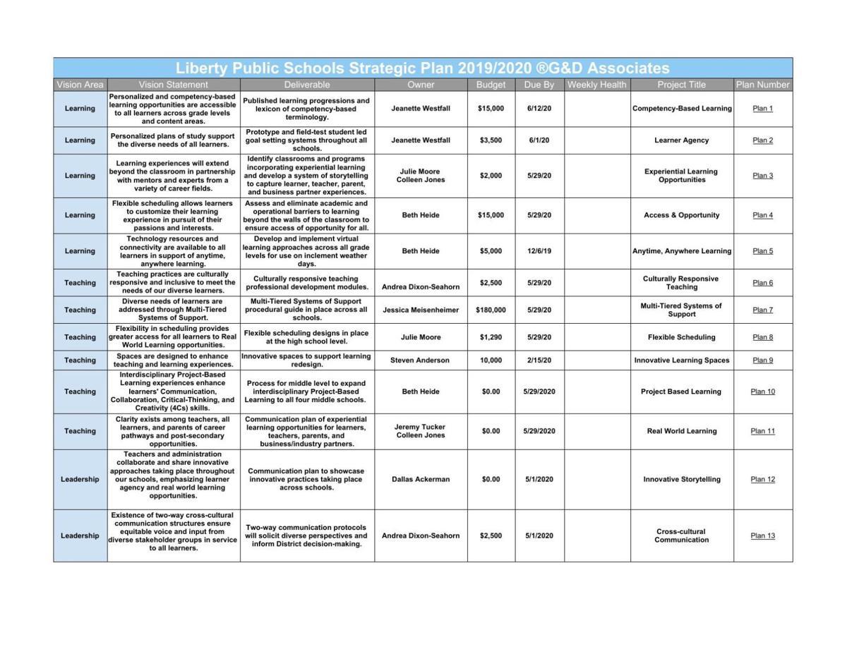 Liberty schools draft vision statements