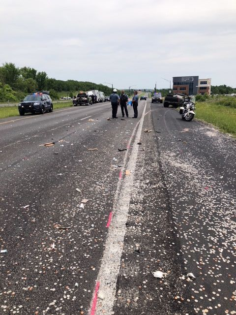 Eastbound 152 closed due to armored truck collision