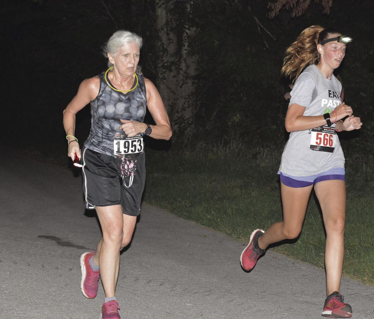 Night running at lake
