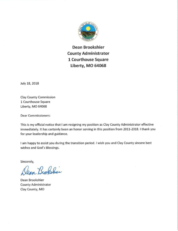 Dean Brookshier resignation | | mycouriertribune.com