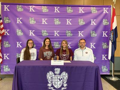 Kearney soccer player Abby Couch celebrates signing with Missouri State