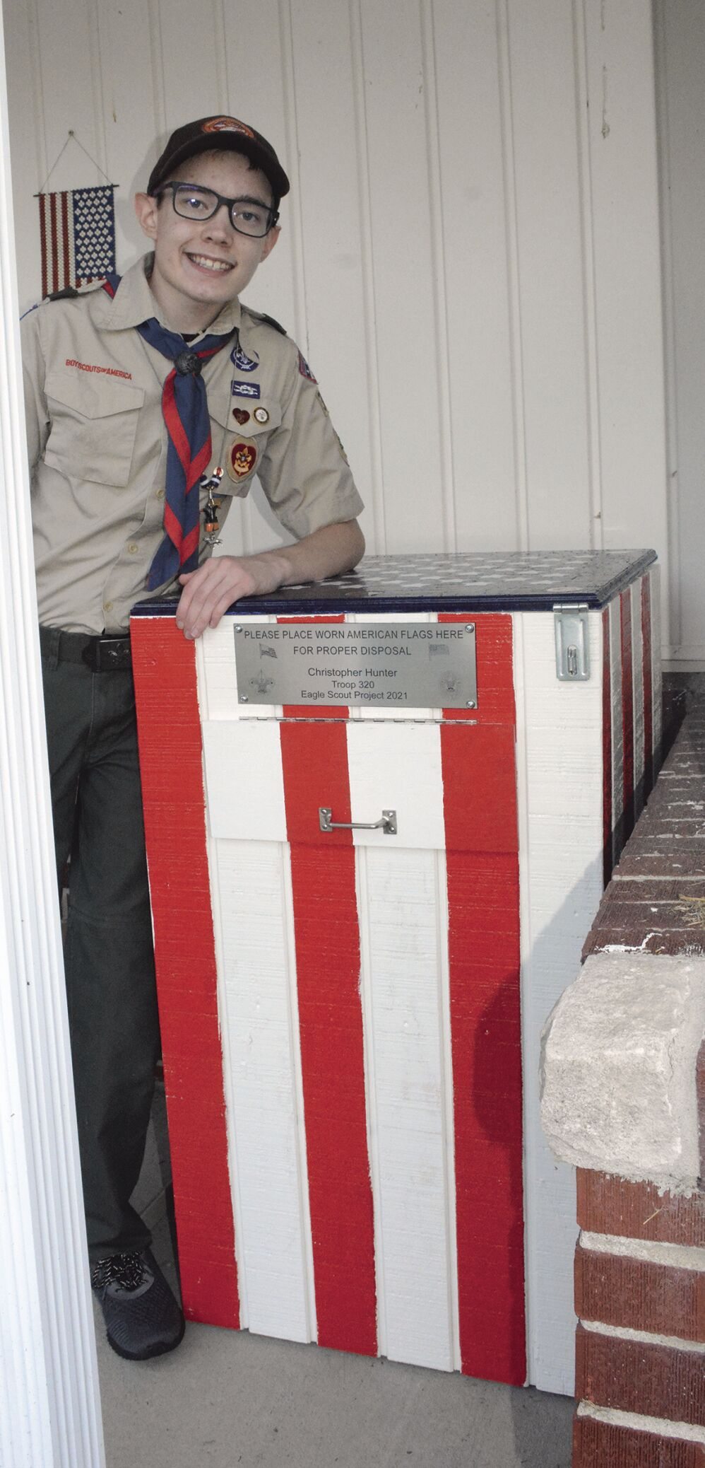 Liberty North junior creates Eagle Scout project for American flag disposal