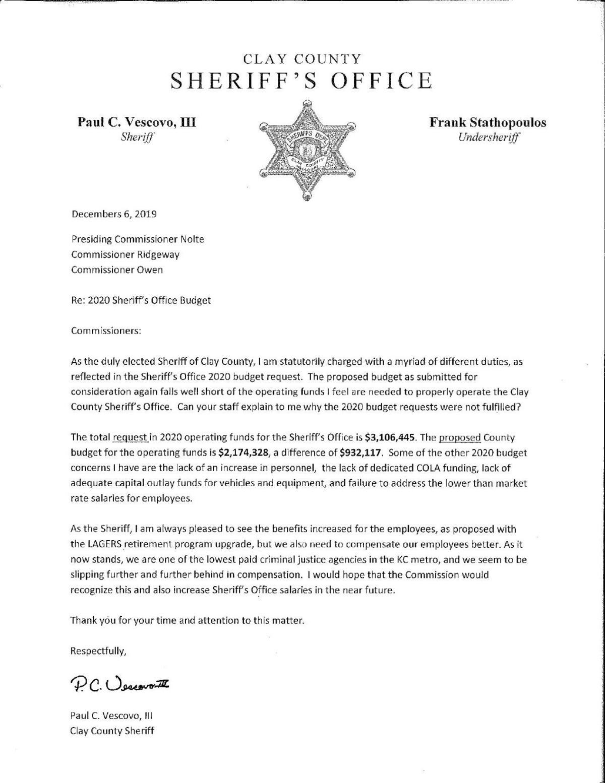 Sheriff's budget concerns letter