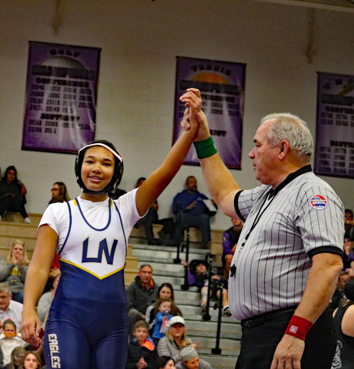 Liberty North girls wrestling starts season with win against Kearney