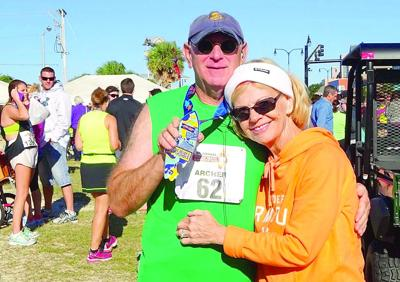 Phil Archer Ran In The Myrtle Beach Mini Marathon On Sunday Oct 19 His Time Was 2 24 Wife Chris Gives Him A Congratulatory Hug After
